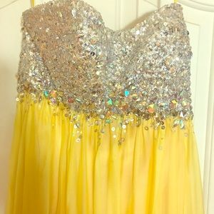 Yellow prom style dress with bedazzled jeweled top